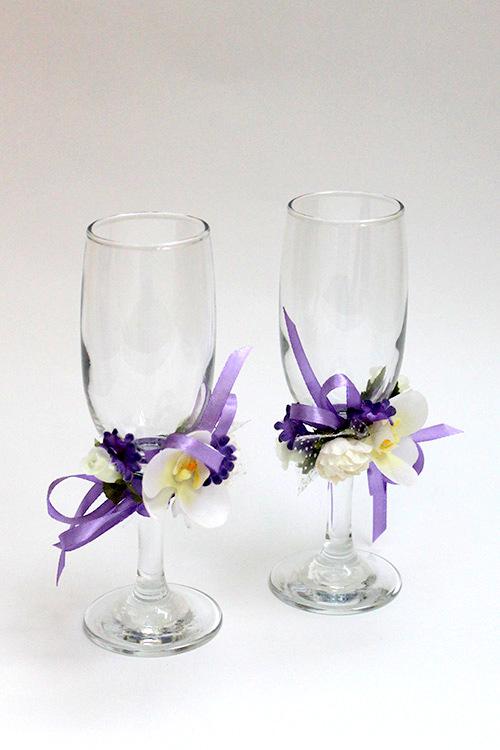 Свадебные бокалы Сиреневое утро