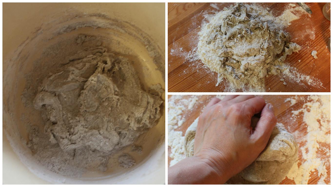 Вымешиваем тесто для калиток