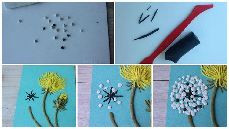 Выполнение третьего цветка одуванчика