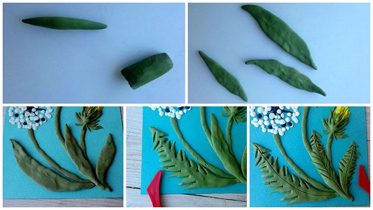 Выполняем листики одуванчика