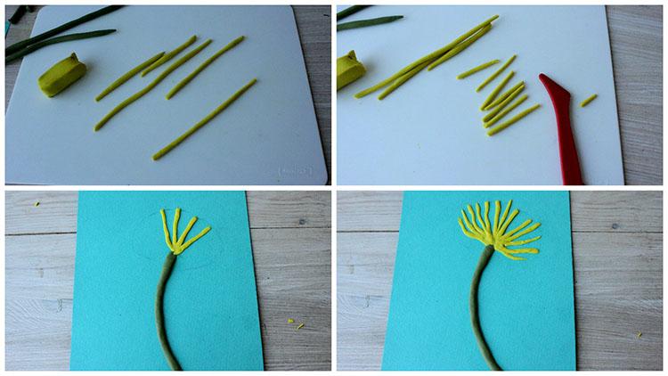 Скатываем лепестки из желтого пластилина