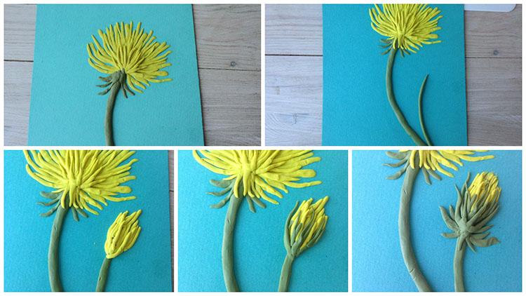 Формируем цветок одуванчика