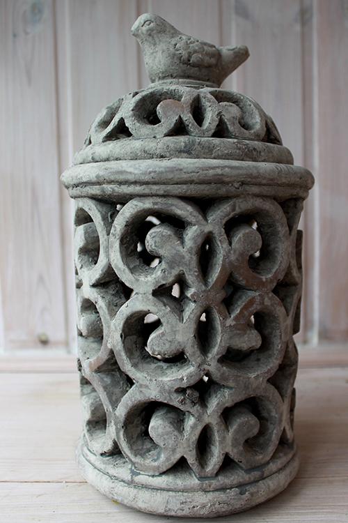Фонарь из керамики с птицей для свечи
