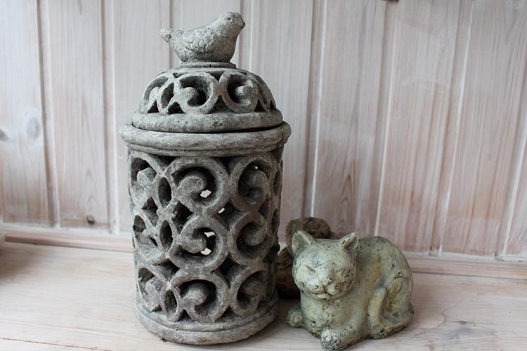 фонарь из керамики с птичкой