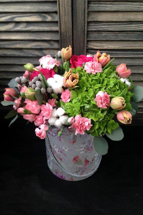 Коробка с зеленой гортензией, розами и гвоздикой
