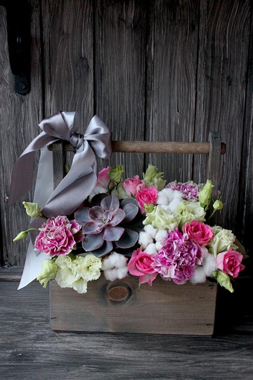 Розы, суккулент и лизиантусы в ящичке