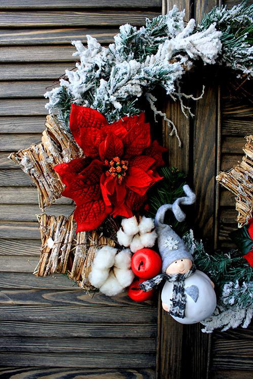 Рождественский венок с красной пуансеттией и снеговиком