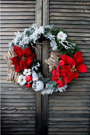 Рождественский венок с пуансеттией и снеговиком