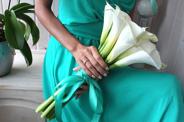 Свадебный букет для свадьбы в стиле Тиффани.