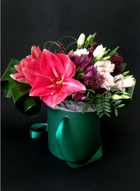 Розовый амариллис в зеленой коробке