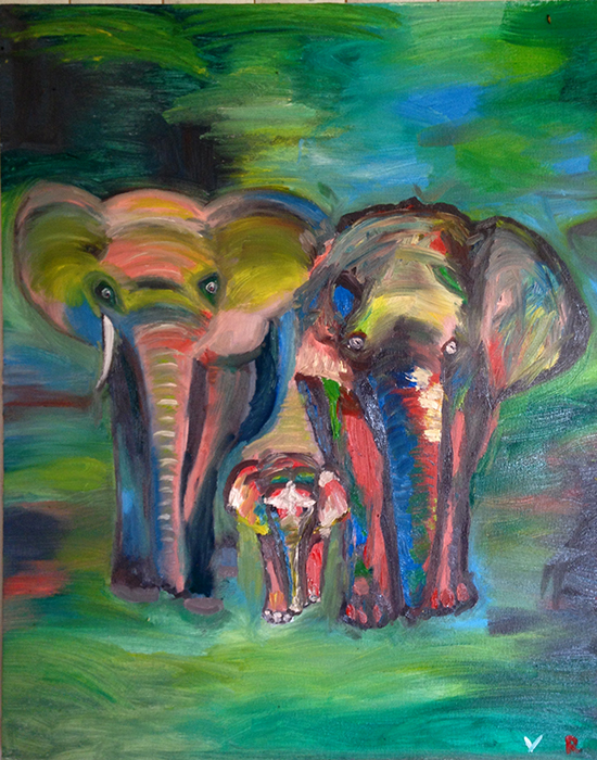 Мастеркласс Картина маслом Слоны