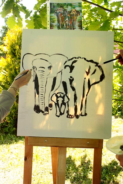 Эскиз будущей картины со слонами