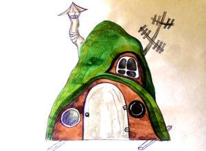 эскиз сказочного земляного домик