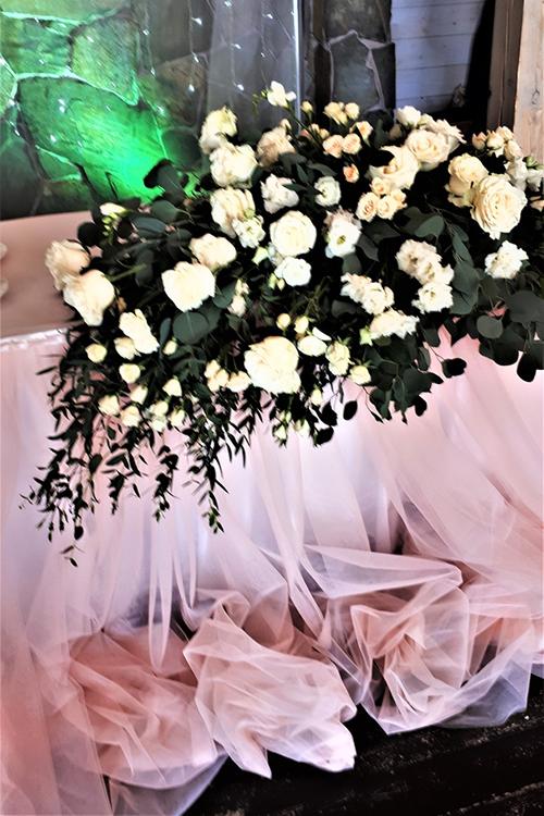 Стол молодоженов в цвете пудра