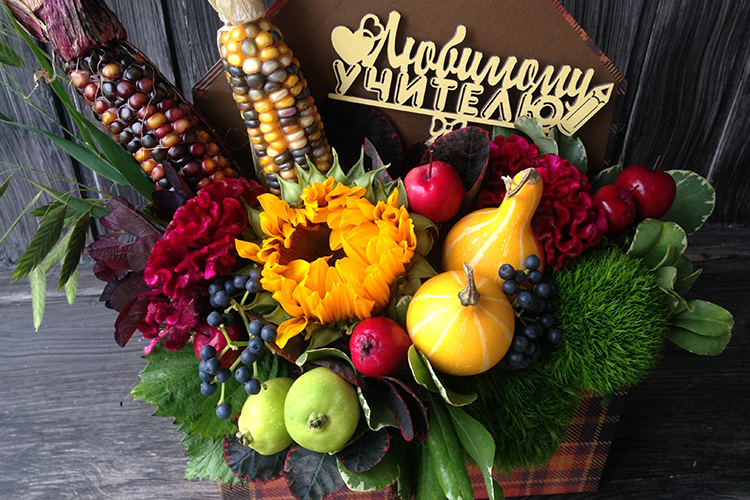 Конверт с цветами на 1 сентября