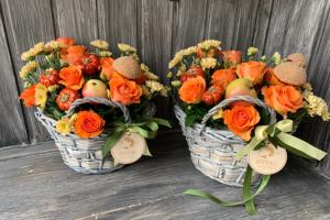 Изготовление корзиночки с цветами на День учителя