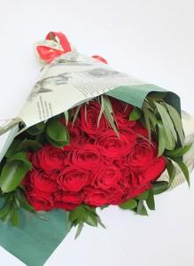 Букет из 25 красных роз, сорта «Фридом»