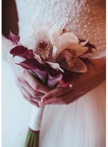 Букет невесты с каллами и орхидеями