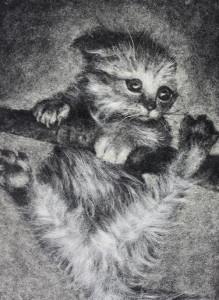 Портрет из тополиного пуха «Котенок»